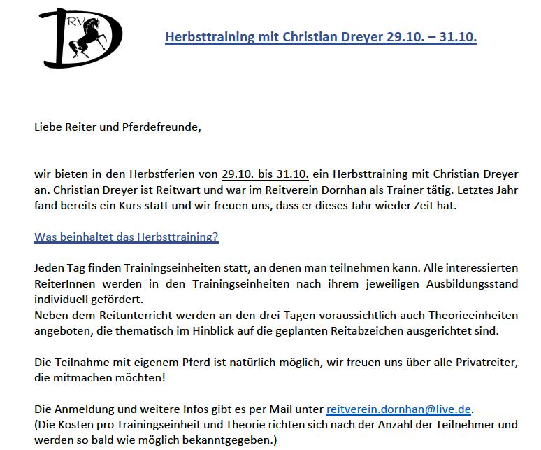 Herbsttraining mit Christian Dreyer 29.10. – 31.10.