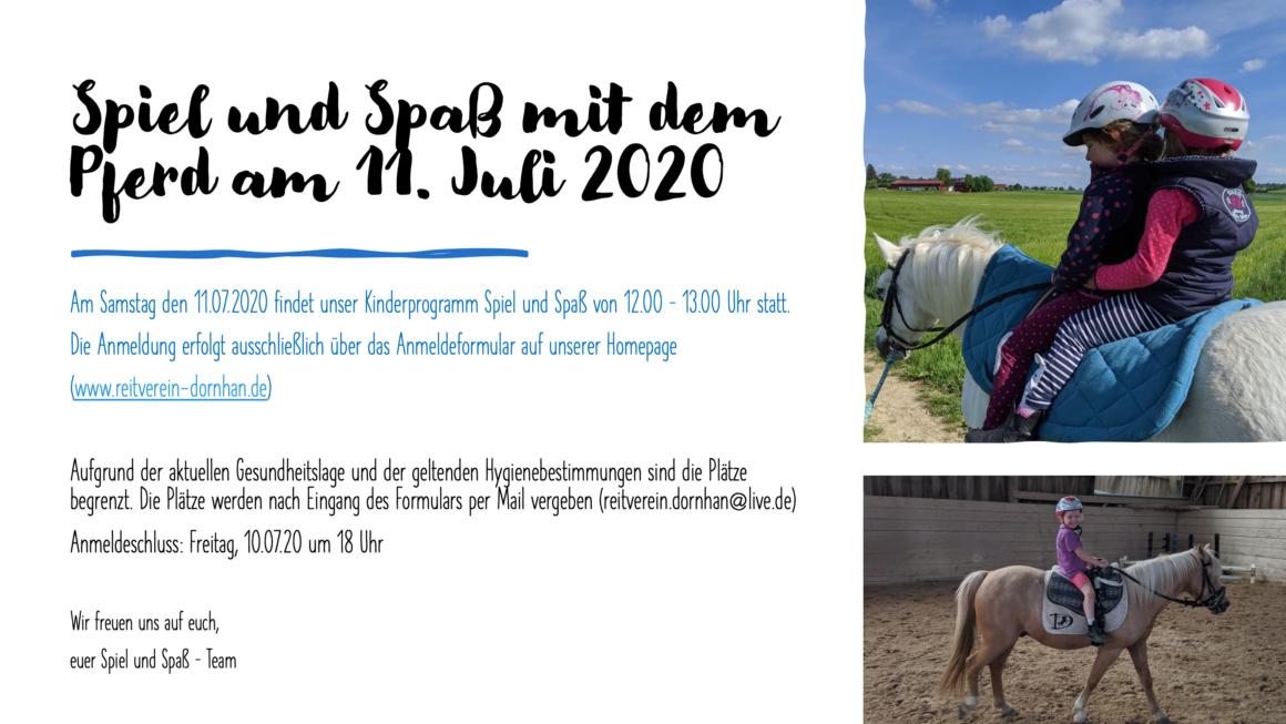 Spiel und Spaß mit dem Pferd am 11.07.2020